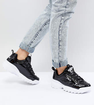Fila Disruptor Sneakers In Patent Black