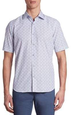 Saks Fifth Avenue COLLECTION Short Sleeve Mixed-Printed Shirt