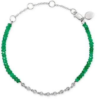 Meira T 14K White Gold Bezel-Set Diamond & Emerald Bead Bracelet