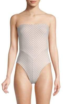 Skin Skin Women's The Paillot Strapless High Cut Swimsuit - Ivory Shadow - Size Small