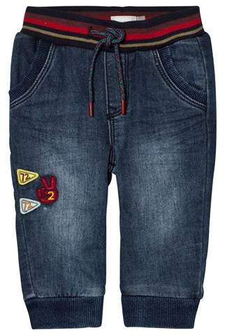 Mid Wash Pull Up Jeans with Stripe Waistband