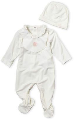 Roberto Cavalli Junior (Infant Girls) Two-Piece White Embroidered Bib Footie & Hat Set