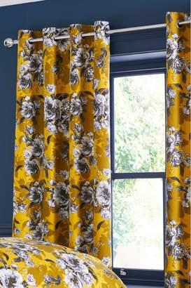 Next Ochre Peony Blackout Eyelet Curtains - Yellow