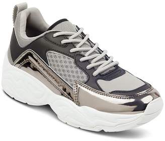KENDALL + KYLIE Women's Focus Metallic Leather & Fabric Dad Sneakers
