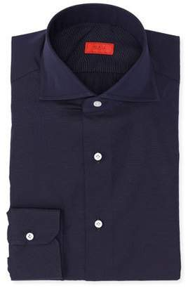 Isaia Micro-Effect Cotton Solid-Color Dress Shirt