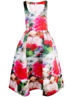 ADAM by Adam Lippes Scoop Neck Print Satin Dress