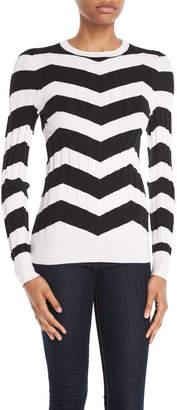 Derek Lam Crewneck Long-Sleeve Chevron Cashmere-Silk Sweater