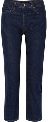 Gold Sign The Low Slung Cropped Mid-rise Straight-leg Jeans - Dark denim