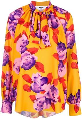MSGM floral printed tie neck blouse