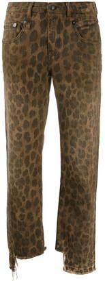 R 13 leopard print cropped jeans
