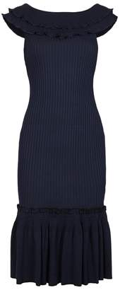 Jonathan Simkhai Navy Ruffle-trimmed Stretch Jersey Dress