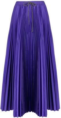 Tela drawstring flared pleated skirt