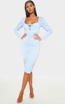 PrettyLittleThing Baby Blue Square Neck Lace Up Ruched Midi Dress