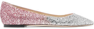 Jimmy Choo Romy Degradé Glittered Leather Point-toe Flats - Baby pink