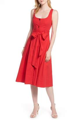 1901 Button Front Fit & Flare Midi Dress