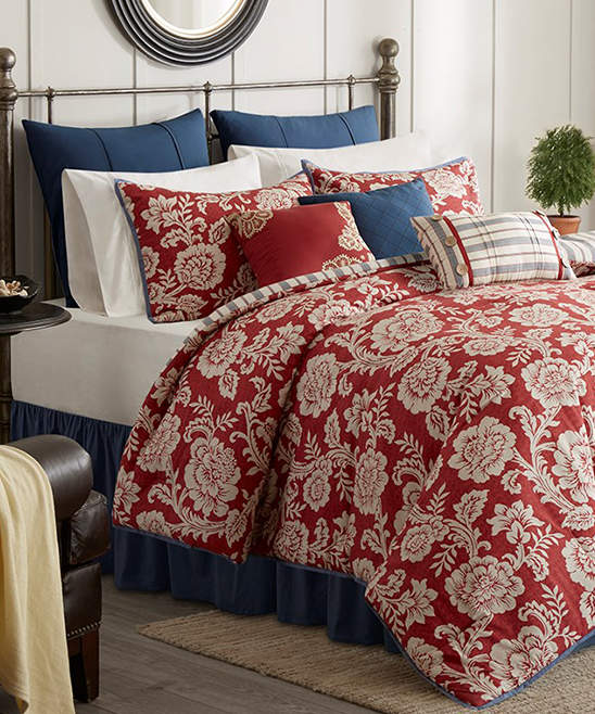 Red Floral Nine-Piece Cotton Comforter Set