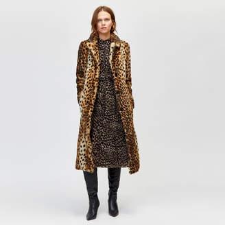 Warehouse Long Leopard Faux Fur Coat