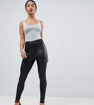 Asos DESIGN Petite leather look leggings with elastic slim waist