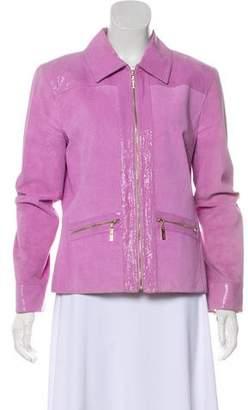 St. John Sport Embossed Trim Leather Jacket
