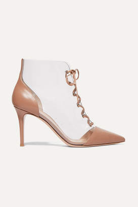 Gianvito Rossi 85 Leather And Pvc Ankle Boots - Blush