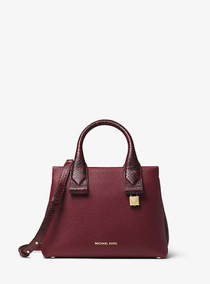 Michael Kors Rollins Small Snake-Embossed Leather Satchel