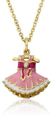 Little Miss Twin Stars Ballet Beauty 14k Gold-Plated Enamel Bow Adorned Ballerina Dress Pendant Necklace