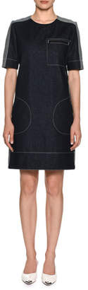 Marni Short-Sleeve Denim Shift Dress w/ Stitch Detailing