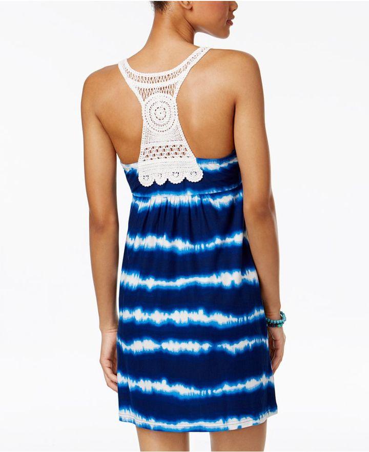 Planet Gold Juniors' Printed Crochet-Trim Racerback Dress