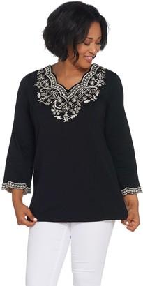 Bob Mackie Embroidered Scalloped Neckline Knit Tunic