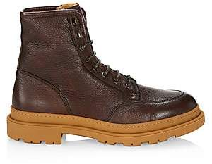 Brunello Cucinelli Men's Shearling-Lined Leather Ankle Boots