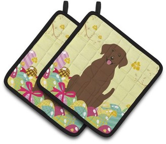 Caroline's Treasures Easter Eggs Chocolate Labrador Pair of Pot Holders