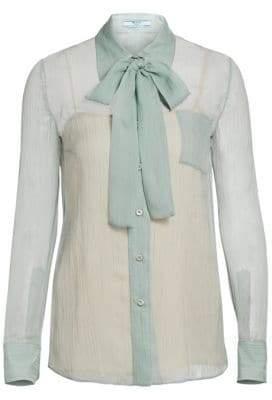 Prada Chiffon Long Sleeve Tie-Neck Blouse
