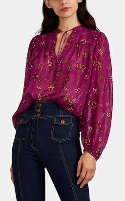Ulla Johnson Women's Constance Floral Cotton-Silk Blouse - Purple
