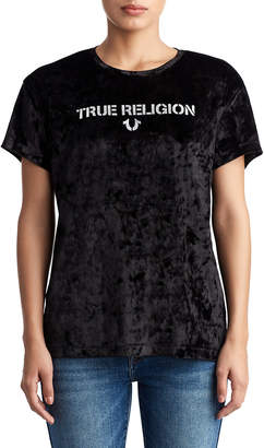 True Religion WOMENS CRUSHED VELVET LOGO TEE