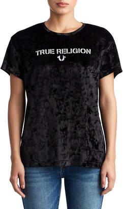 True Religion WOMENS CRUSHED VELVET LOGO TEE