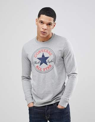 Converse Long Sleeve Top With Chuck Patch In Gray 10004863-A04