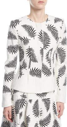 Oscar de la Renta Leaf-Embroidered Jacket