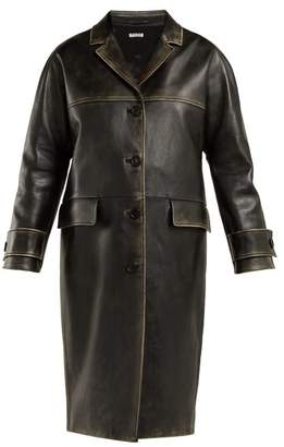 Miu Miu Long Distressed Leather Coat - Womens - Black