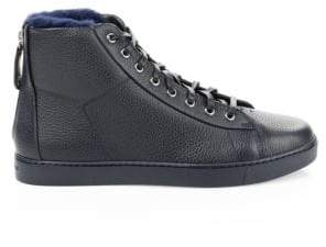 Gianvito Rossi Leather High-Top Back- Zip Sneakers