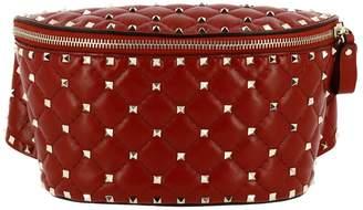 Valentino GARAVANI Shoulder Bag Rockstud Spike Belt Bag In Genuine Quilted Leather With Metal Micro Studs