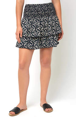 Lost + Wander Smocked Floral Ruffle Skirt