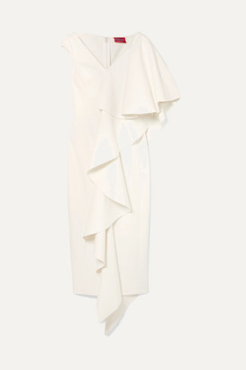 SOLACE London Alora Asymmetric Ruffled Stretch-cady Midi Dress - Cream