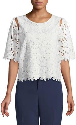 Laundry by Shelli Segal Open-Shoulder Crochet Lace Blouse