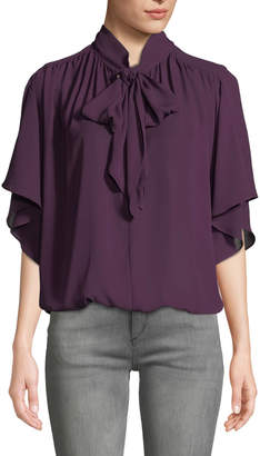 Max Studio Ruffle-Sleeve Bow-Neck Blouse