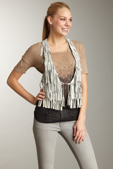 Doma Doma Genuine Leather Fringe Vest