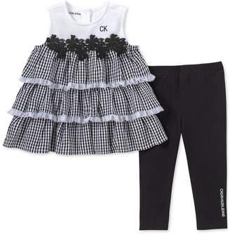 b664ee2ae7 Calvin Klein Baby Girls 2-Pc. Gingham Ruffle Tunic   Leggings Set