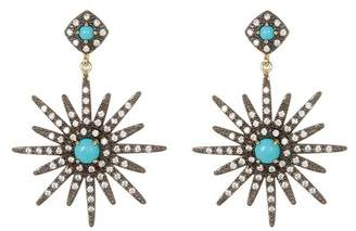 Swarovski ADORNIA 14K Gold Vermeil Turquoise & Crystal Accented Starburst Earrings