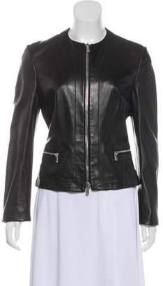 Michael Kors Leather Zip-Up Jacket