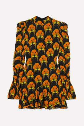 De La Vali Puma Ruched Ruffled Printed Georgette Mini Dress - Black