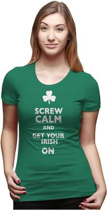 Crazy Dog T-shirts Crazy Dog Tshirts Womens Screw Calm and Get Your Irish On Funny St Patricks Day T shirt -L